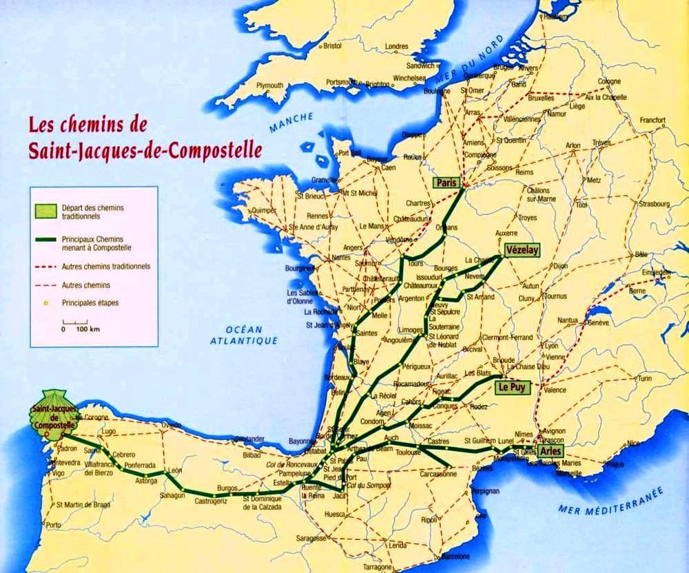 I principali Cammini che conducono a Compostela, partendo dalla Francia.