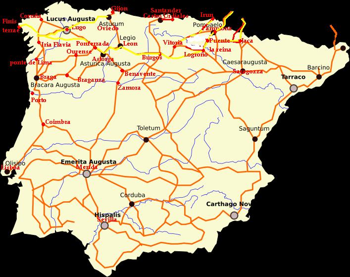 Andamento delle principali vie romane (in rosso) e Cammini (in giallo)