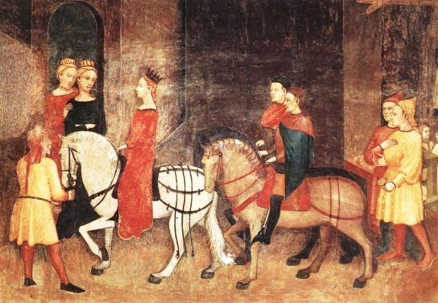 Le disavventure di messer Rinaldo da Ferrara. Novella tratta dal Decameron. Pellegrini-ricchi-a-cavallo